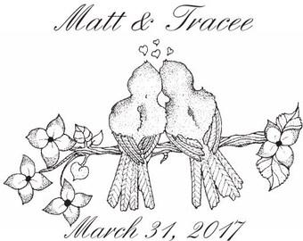 Lovebirds Custom Wedding Stamp - C573