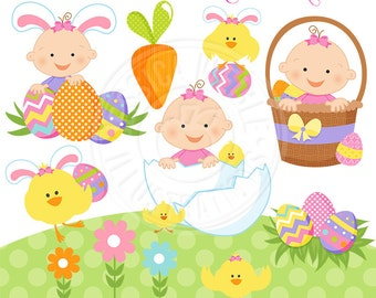 Easter Baby Girl Cute Digital Clipart, Easter Baby Clipart - Easter Clip art, Easter Graphics, Baby in Easter Basket, Easter Egg Clip art