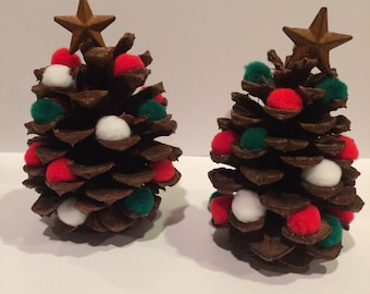 Pinecone Christmas Tree Decoration, red, green, and white pom poms, star on top