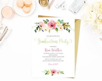 Floral Graduation Invitation, Graduation Party Invitation, Printable Graduation Invitation, Class of 2017 Invitation