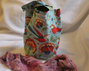 Floral Bird Bag Red Blue Green Feather Handle