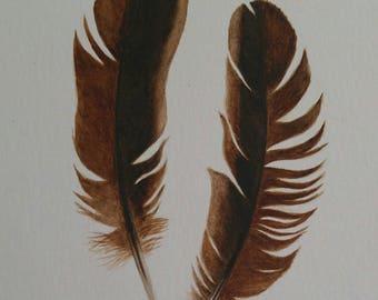 Original Feather Watercolor, Rhode Island Red, chicken, modern, home decor, boho decor, modern decor, nature art, feather art, feather art