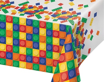 Building Blocks Tablecover Colored Bricks Birthday Party Supplies Tableware Buffet