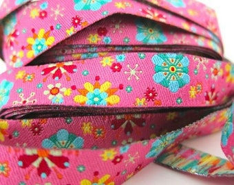 Floral Ribbon, Pink Ribbon, Ribbon farbenmix Ribbon 12mm by the yard