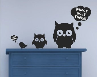 Chalkboard Owls and Bird Wall Decals Stickers Removable and Repositionable Wall Art