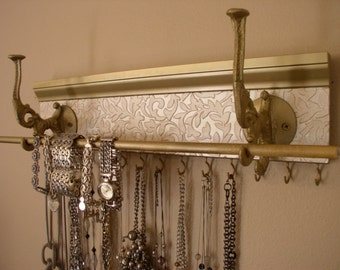 "Ultimate Jewelry Organizer.14 Hooks for necklaces.20"" bracelet bar W/ large hooks for scarves & more closet organization"