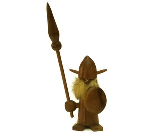 Danish Teak Wood Viking Doll. Mid Century Modern Gonk Figurine. Scandinavian Folk Art Troll Toy. Home Decor and Gifts.