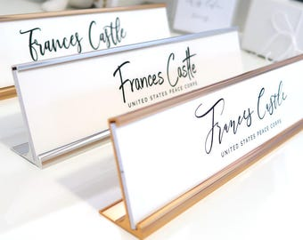 """Custom Minimalist Nameplate """"Frances"""" - Personalized Desk Name Plate Wall Sign Decor - Office Accessories - Modern Office Supplies"""