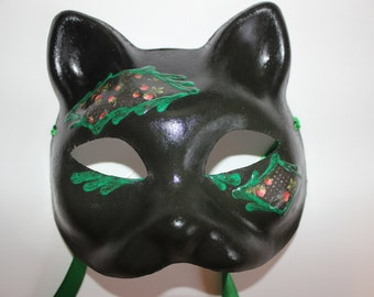 Cat mask with strawberries