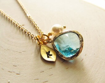 Initial Birthstone Necklace, Gold Birthstone, Personalized Necklace, Gold Personalized Jewelry, New Mom, Bridesmaid Gift, You Choose Color