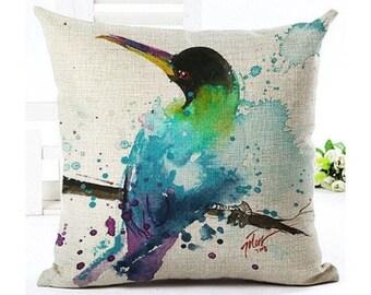 Black Head Blue Bird Oil Painting Pillowcase