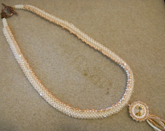 Swarovski Crystal and Rivoli Necklace w/ Antique Copper Plated Flower Toggle