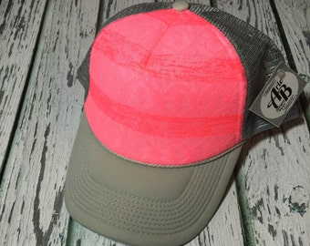 Best selling limited edition neon pink striped aztec  trucker hat- available in a variety of different colors and sizes