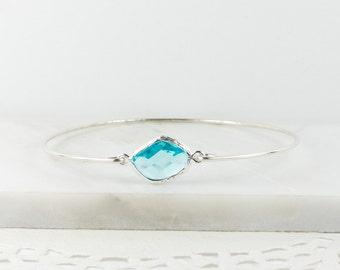 Aquamarine Sterling Silver Bangle, March Birthstone Silver Bracelet, March Gift, Sterling Silver Bracelet, Aquamarine Bangle Bracelet