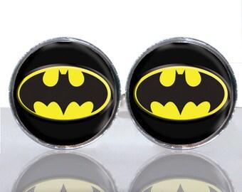 Batman Classic Round Glass Tile Cuff Links