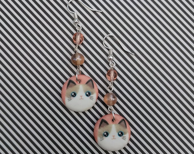 Pink Cat Statement Earrings, Animal Jewelry