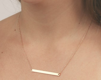 Gold bar necklace dainty layering necklace delicate plate gold filled jewelry.