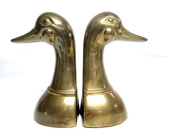 Solid Brass Duck Head Bookends - FREE SHIPPING