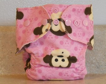 Fitted Preemie Newborn Cloth Diaper- 4 to 9 pounds- Pink Monkeys- 16034