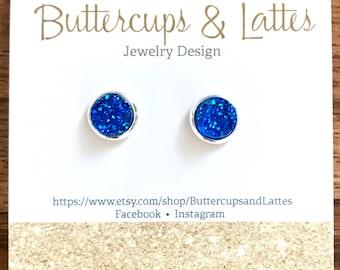 Blue Druzy Stud Earrings 8mm, Royal Blue Druzy Earrings