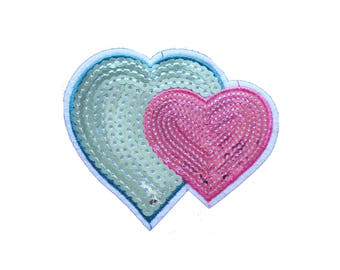 Couple Hearts Sequined Patch Embroidered Applique Iron on Patch