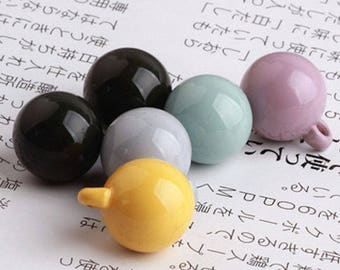 6pcs- 1 loop enamel ball charm -you pick the color