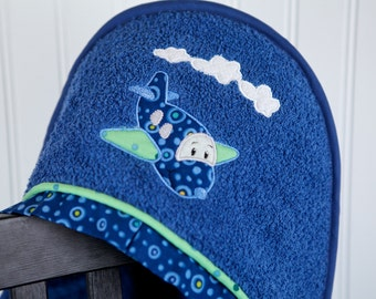 airplane hooded bath towel personalized child gift
