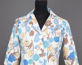 ON SALE 1960s Jacket // Blue Botanical Floral Cropped Cotton Jacket