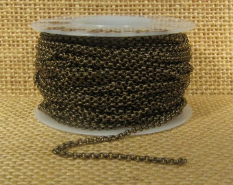 2.0mm Rolo Chain - Antique Brass - 2.0mm Links - CH48 - Choose Your Length