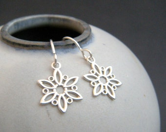 small sterling silver snowflake earrings simple drop leverback lever back hook everyday simple jewelry filigree winter gift for her