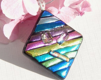 ON SALE  -  Large Dichroic Glass Pendant - Fused Glass Jewelry - Diamond Shape Glass Statement Necklace