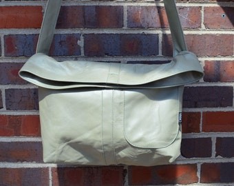 Light Mint Green Messenger Bag-ready to ship-gift-Every day bag -Over-the-shoulder bag-Ready to ship-upcycled-