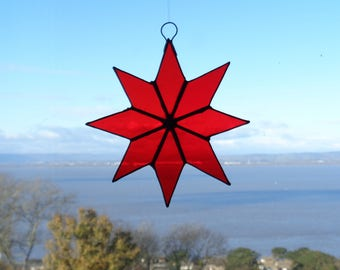 Stained glass medium 8 pointed star suncatcher