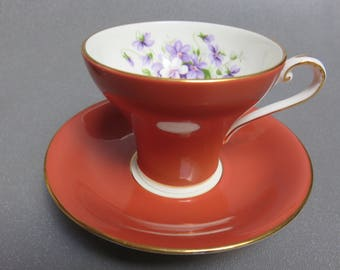 AYNSLEY smooth corset Tea Cup and Saucer  RUST EXTERIOR  violet bouquet