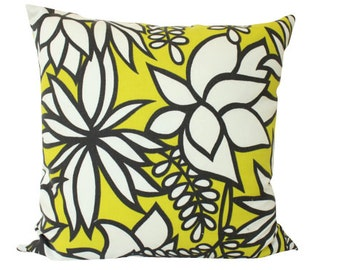 As seen in HGTV Magazine, Kalaheo Pillow Cover in Yellow and Grey Flower Schumacher Fabric