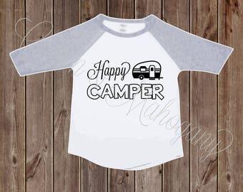 Happy Camper Toddler Raglan Shirt