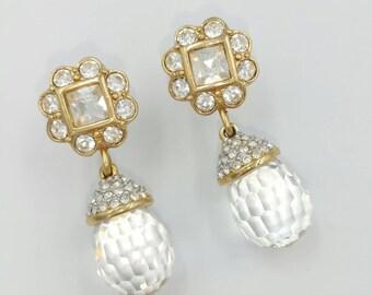 Signed Swarovski Crystal Ball Drop Earrings, Swan Symbol Prism Wedding Earrings, Bride Earrings