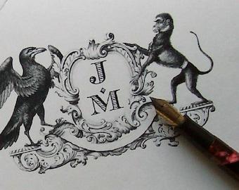 Monkey Crow Bird Heraldic Crest Personalized Note Cards Monogrammed Stationery Stationary Black Ivory Set 10 English Heraldic Family Crest