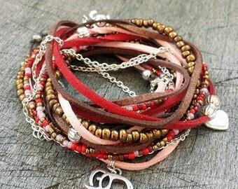 Wrap Bracelet Boho Chic Triple Wrap Bohemian style Gypsy bracelet Suede lether Red, light Pink, Brown