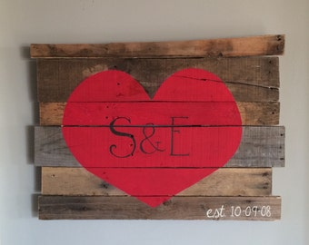Customize it with your own initials ** Heart Reclaimed Wood Art