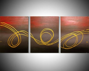 """triptych painting original abstract affordable wall art wall hanging 27 x 12 """" canvas 3 panel art three panel contemporary black gold art"""