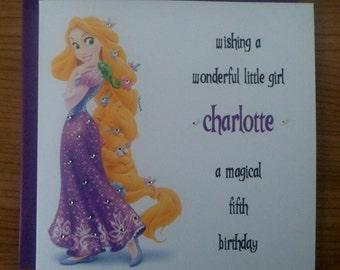 Handmade Personalised Birthday Card RAPUNZEL DESIGN Any Age