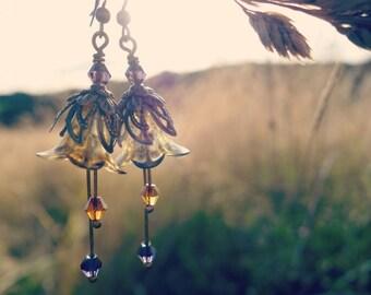 Autumn Earrings - Flower Earrings - Floral Earrings - Fall Earrings - Amethyst Earrings - Amber Earrings - Dangle Drop Earrings - Bronze.
