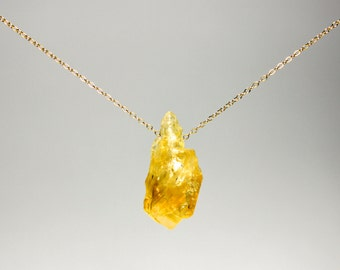 Fortuna Citrine Necklace - raw citrine lucky gemstone on gold fill or sterling silver chain, November birthstone, good luck, minimalist