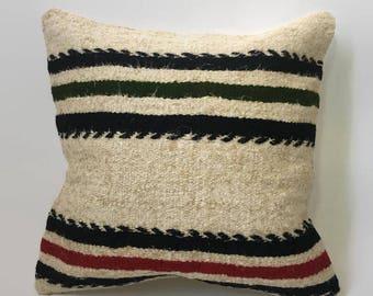 Striped Kilim, Beige Kilim Pillow, Black Kilim Pillow, Turkish Pillow, Moroccan Pillow, Decorative Pillow