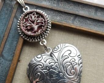 Heart Locket, Necklace, Antique Button, Flower-Leaf Design, Burgundy Tint, Antique Silver Ox, Victorian, Valentine, Timeless Trinkets