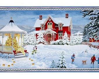 Winter's Eve Christmas Cotton Fabric Scenic Panel  Wilmington Prints    Bfab
