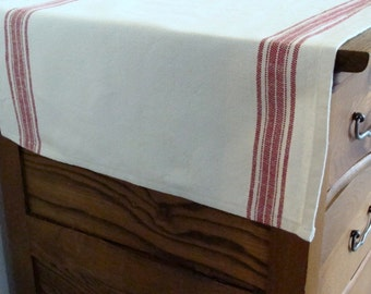 Striped Cotton Table Runner -  Natural with Rouge - Select Your Length