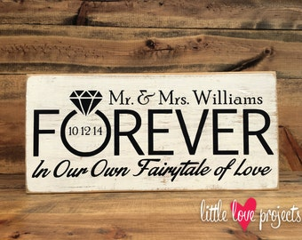 Personalized Mr. and Mrs. Wedding or Anniversary Fairytale of Love Rustic Decor