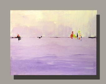 Modern art abstract painting in pastel lavender and purple